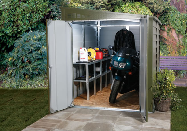 Motorcycle garage 960 with stored items