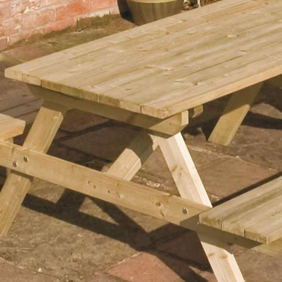 Rowlinson Wooden Picnic Bench Close Up