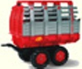 Red Twin axle hay trailer for pedal tractor
