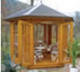 Pau Hexagonal full glass Summerhouse 3m