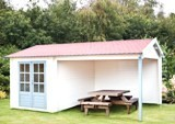 Ove 28mm Log Cabin 2.5m x 3.4m Plus 3.0m Side Porch