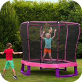 7ft Junior Jumper Trampoline & Enclosure - Pink & Purple