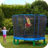 7ft Junior Jumper Trampoline & Enclosure - Blue & Green