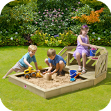 Wooden Sand Pit & Bench