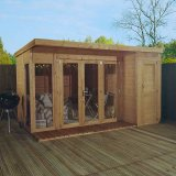 Contemporary Summerhouse with Side Shed 12x8