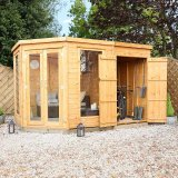 Reversible Corner Summerhouse With Side Shed 11 x 7