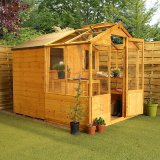 Combi Greenhouse and Wooden Storage Shed 8'x6'