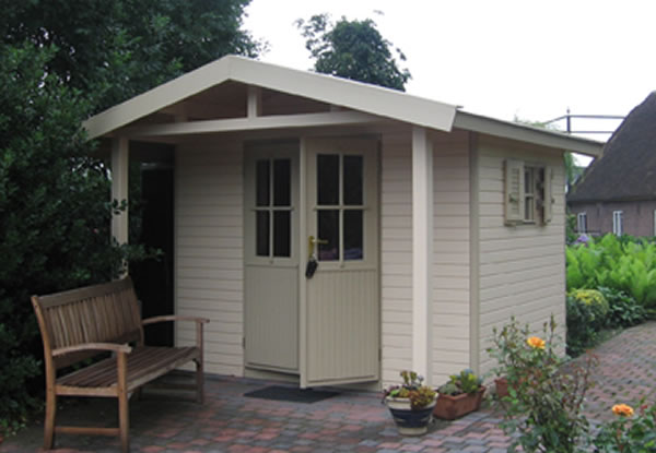 Contemporary shed with attractive canopy 7'9x7'9