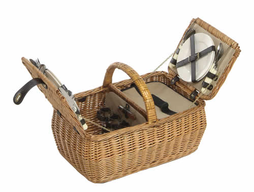 Twin opening four person willow hamper