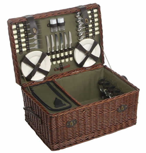 Six person willow picnic hamper