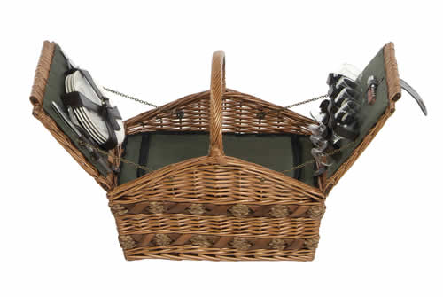 Twin Opening Four Person Willow Picnic Hamper