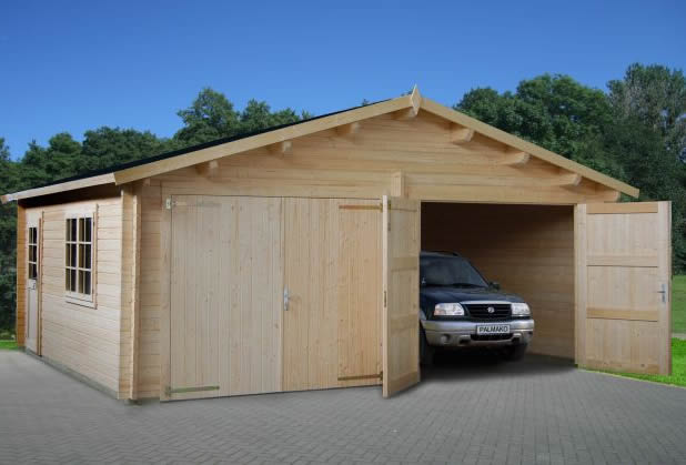 Double Log Cabin Garage 44mm 5.95x5.30m