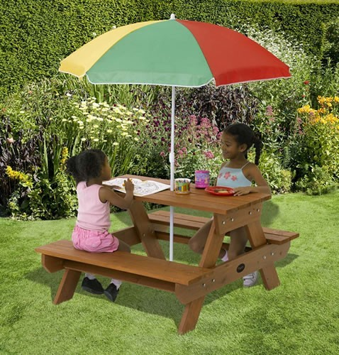 Junior Rectangular Table with Parasol