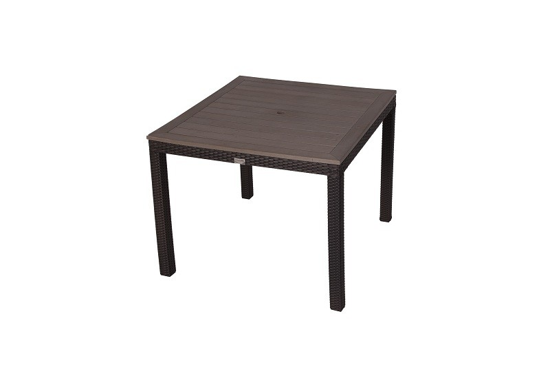 Square Rattan Table With Plaswood Top