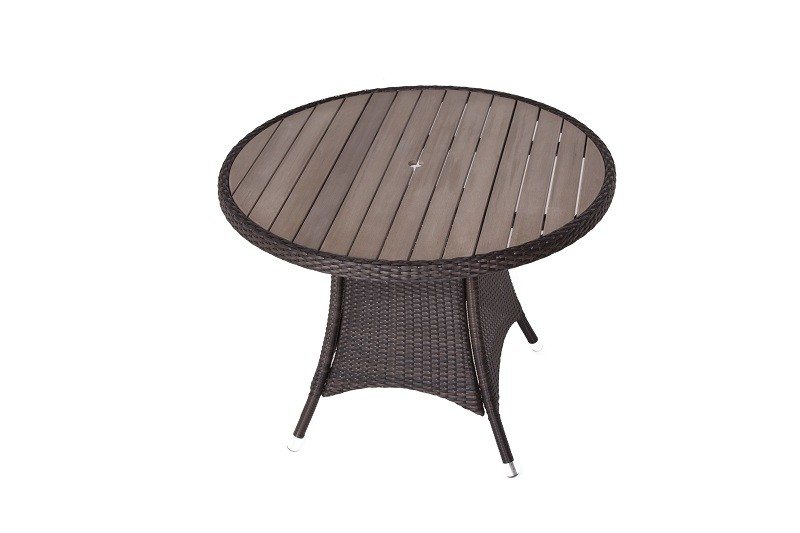 Round Rattan Table with Plaswood Top