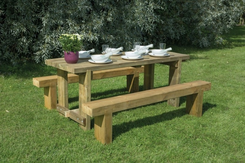 Forest 1.8m Refectory Table and 2 benches