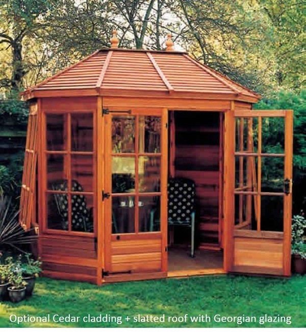 Gazebo summerhouse cedar cladding + roof and Georgian glazing