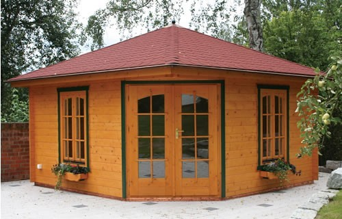 45mm double glazed corner log cabin