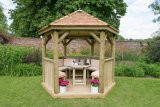 3m Premium Hexagonal Wooden Garden Gazebo with Cedar Roof – Furnished (Cream)