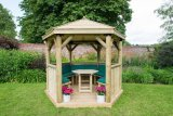 3m Premium Hexagonal Wooden Garden Gazebo with Timber Roof – Furnished (Green)