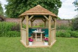 3m Premium Hexagonal Wooden Garden Gazebo with Thatched Roof – Furnished (Green)