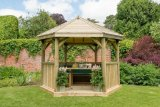 3.6m Premium Hexagonal Wooden Garden Gazebo with Timber Roof – Furnished (Green)