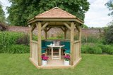 3m Premium Hexagonal Wooden Garden Gazebo with Cedar Roof – Furnished (Green)