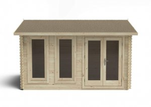 Chiltern 4.0m x 3.0m Log Cabin Single Glazed 24kg Felt, No Underlay