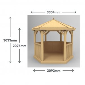 3m Premium Hexagonal Wooden Garden Gazebo with Cedar Roof – Furnished (Terracotta)