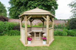 3m Premium Hexagonal Wooden Garden Gazebo with Timber Roof – Furnished (Cream)