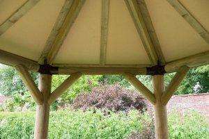 3m Premium Hexagonal Wooden Garden Gazebo with Timber Roof – Furnished (Terracotta)