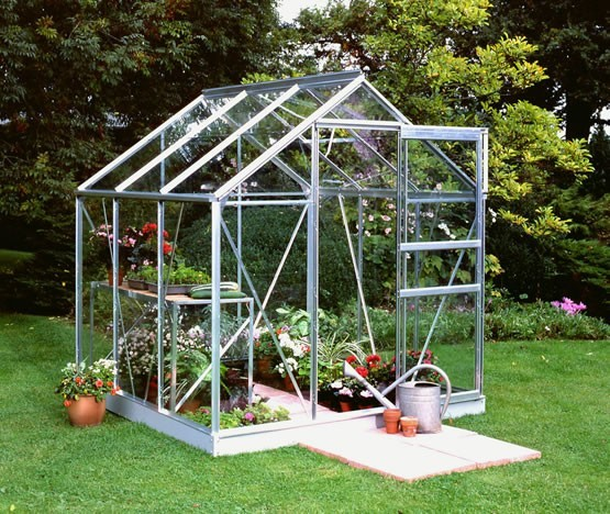 Halls Greenhouse Popular 66 in Silver with Horticultural glass