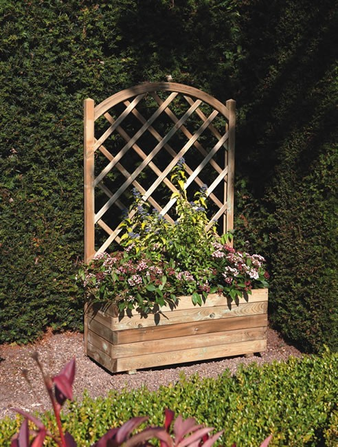 Wooden Rectangular Planter With Lattice